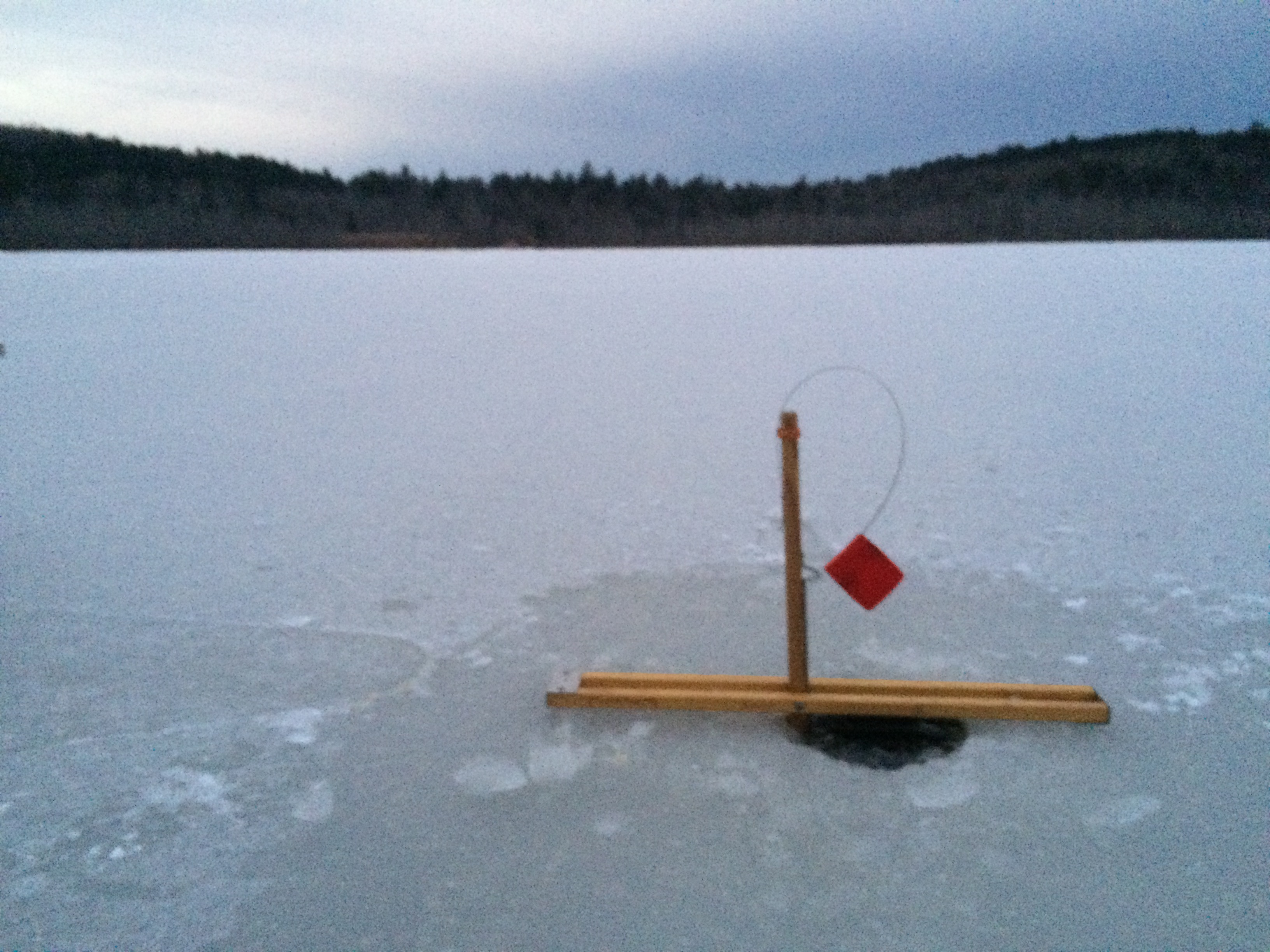 Its finally here jack traps ice fishing traps and tip for Homemade ice fishing tip ups